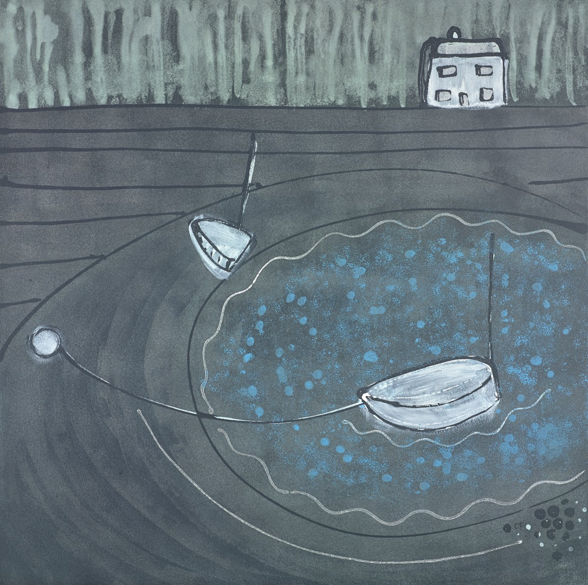 The White Rowboat by charlotte turner -  sized 28x28 inches. Available from Whitewall Galleries
